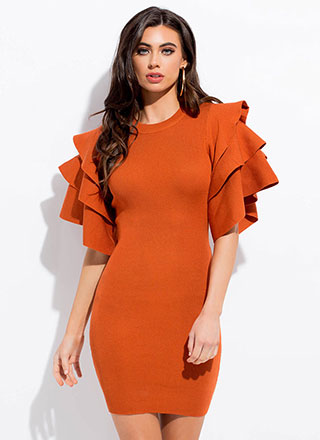 Tier-Jerker Ribbed Ruffle Sleeve Dress
