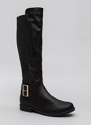 Get Strappy Stretchy Back Riding Boots