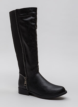 Toothsome Zipper Trim Knee-High Boots