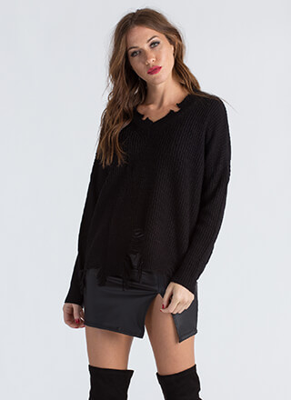 Take A Bite Distressed Knit Sweater