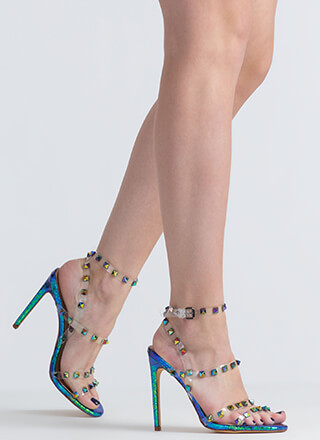 So Clearly Studded Iridescent Heels