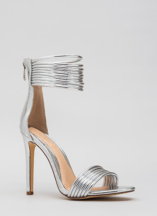 Stacked High Strappy Ankle Cuff Heels