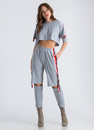 Cool Girl Striped Hoodie And Jogger Set
