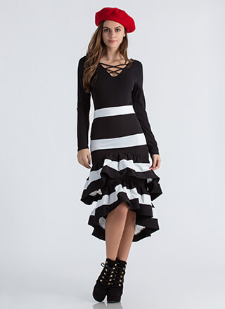 Party Dress Ruffled Striped Skirt