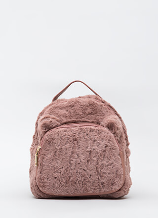 Stuffed Animal Faux Fur Mini Backpack