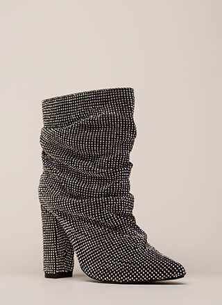 Blinding Slouchy Jeweled Chunky Booties