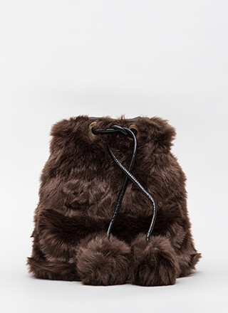 Shaggy Chic Faux Fur Bucket Bag