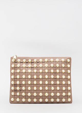 Grid Luck To You Faux Pearl Clutch