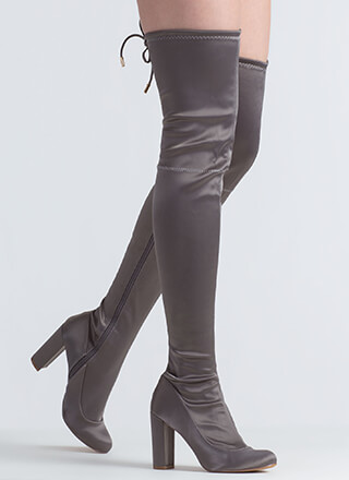 Starting With Satin Thigh-High Boots