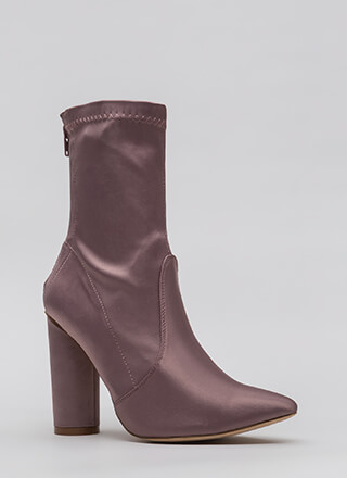 Sleeker In Satin Chunky Booties