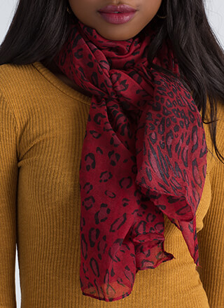Hot Spots Semi-Sheer Leopard Scarf