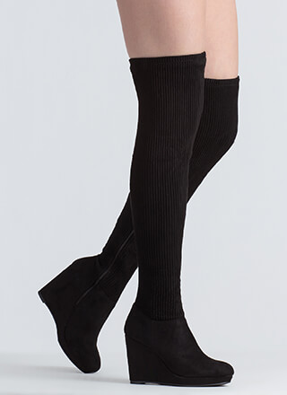 Rib It Platform Wedge Thigh-High Boots
