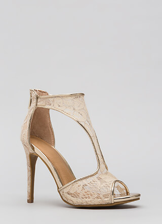 Sheer Elegance Cut-Out Floral Lace Heels