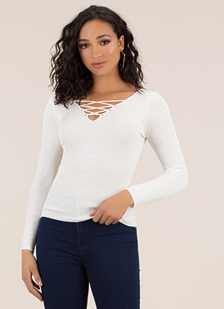 Crisscross Will Make You Rib Knit Top