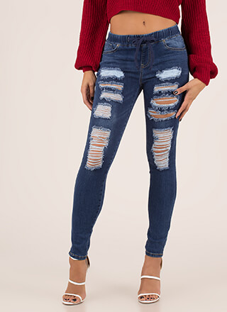 Waist Up Distressed Denim Skinny Jeans