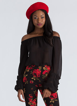 Wrist Action Pleated Off-Shoulder Blouse