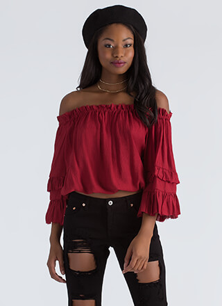 Country Girl Ruffled Off-Shoulder Blouse