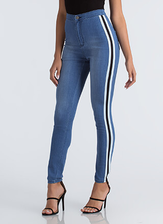Race Yourself Striped High-Waisted Jeans