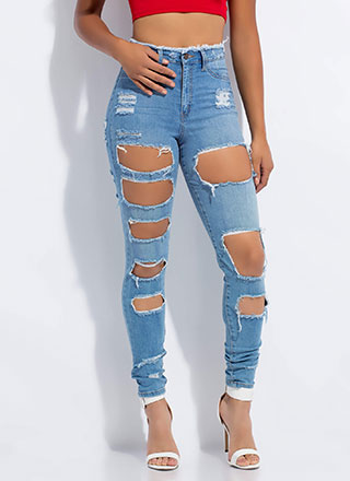 Destroyed It Fringed High-Waisted Jeans