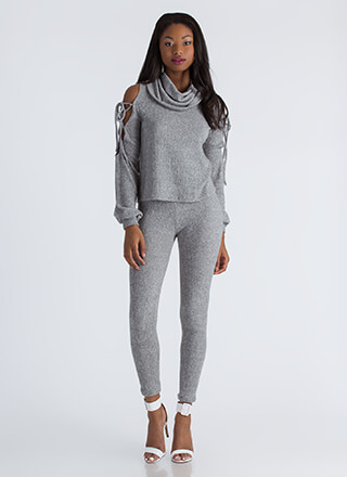 Cowl Girl Rib Knit Top And Legging Set