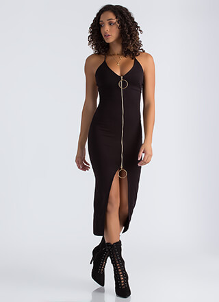 Ring It On Slit Two-Way Zipper Dress