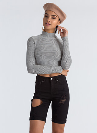 French Kiss Striped Mockneck Crop Top