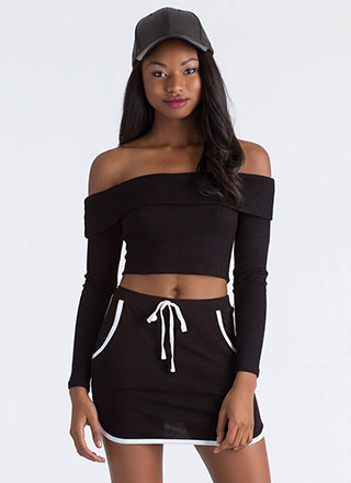 New Bow Ribbed Off-Shoulder Crop Top