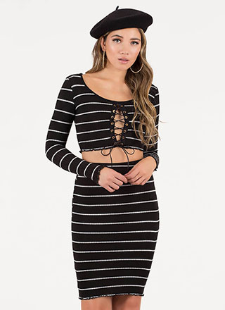 Stripe Right Lace-Up Top And Skirt Set