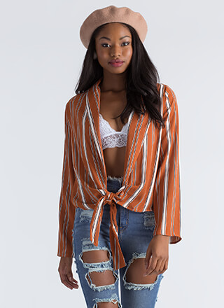Too Cool For School Knotted Striped Top