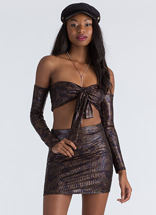 Slither Away Scaled Top And Skirt Set