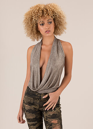 Hey Girl Plunging Draped Halter Top