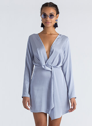 With A Twist Plunging Asymmetrical Dress