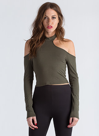 Yeah Whatever Cold-Shoulder Crop Top