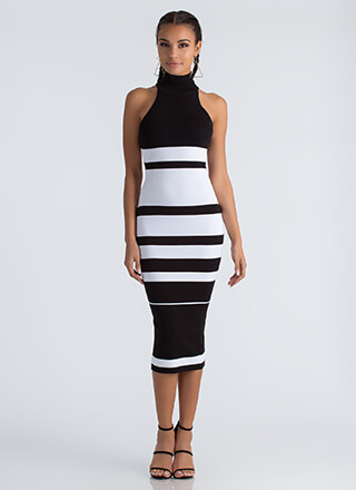 Graphic Content Ahead Striped Knit Dress