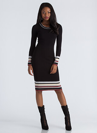 Bottom Line Striped Accent Knit Dress