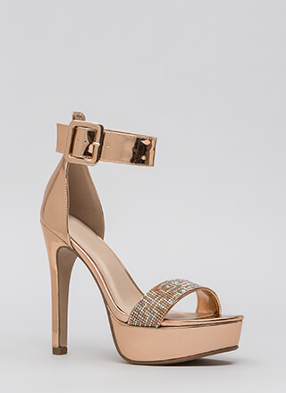 Take Notice Jeweled Metallic Heels