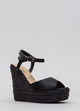Day To Night Platform Espadrille Wedges