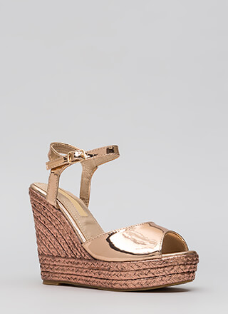 Day To Night Metallic Espadrille Wedges