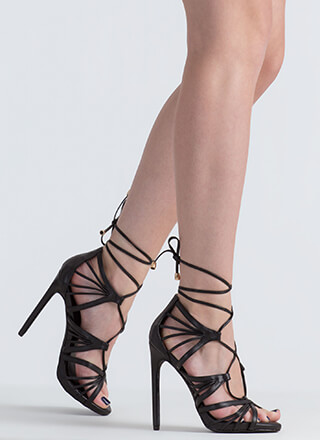 A Fan Of Straps Caged Lace-Up Heels