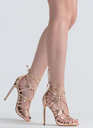 A Fan Of Straps Caged Metallic Heels