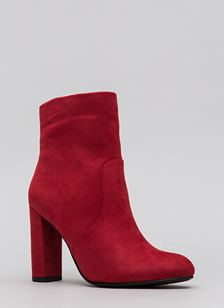 Take It Easy Chunky Faux Suede Booties