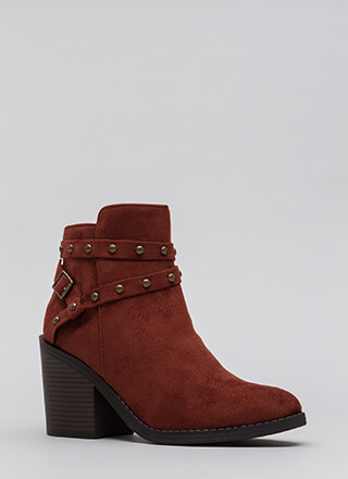 Get Thick Strappy Studded Block Booties