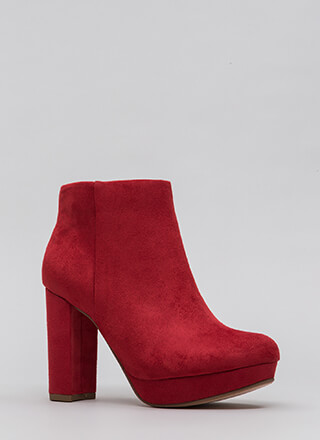 Day Trip Chunky Faux Suede Booties
