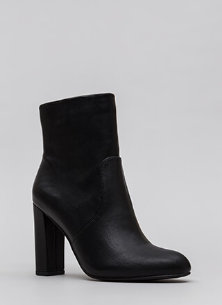 Take It Easy Chunky Faux Leather Booties