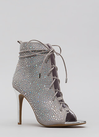 Bling The Heat Jeweled Lace-Up Booties