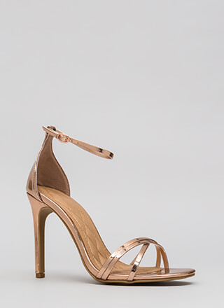 The Skinny Faux Patent Strappy Heels