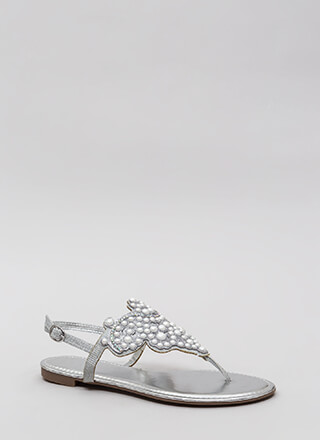 Pearls And Jewels Glittery Thong Sandals