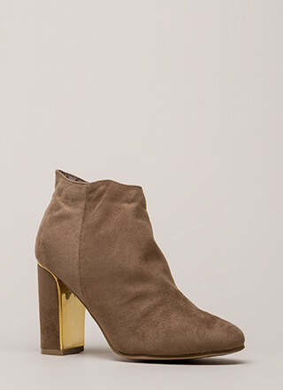 Walk Away Chunky Metallic Trim Booties