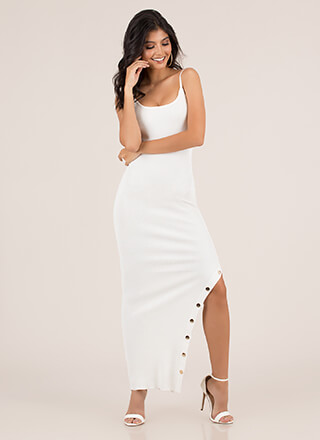 Oh Snap Button Slit Maxi Dress