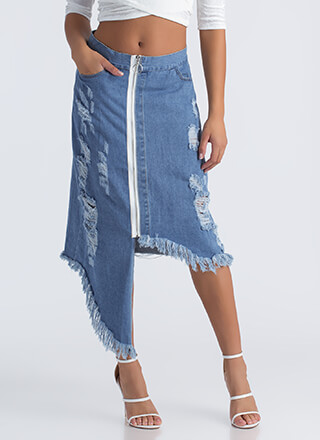 Ring It High-Low Distressed Denim Skirt
